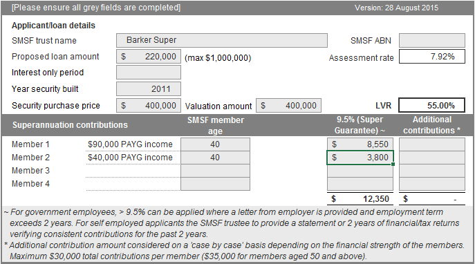 Case study SMSF serviceability calculator The example