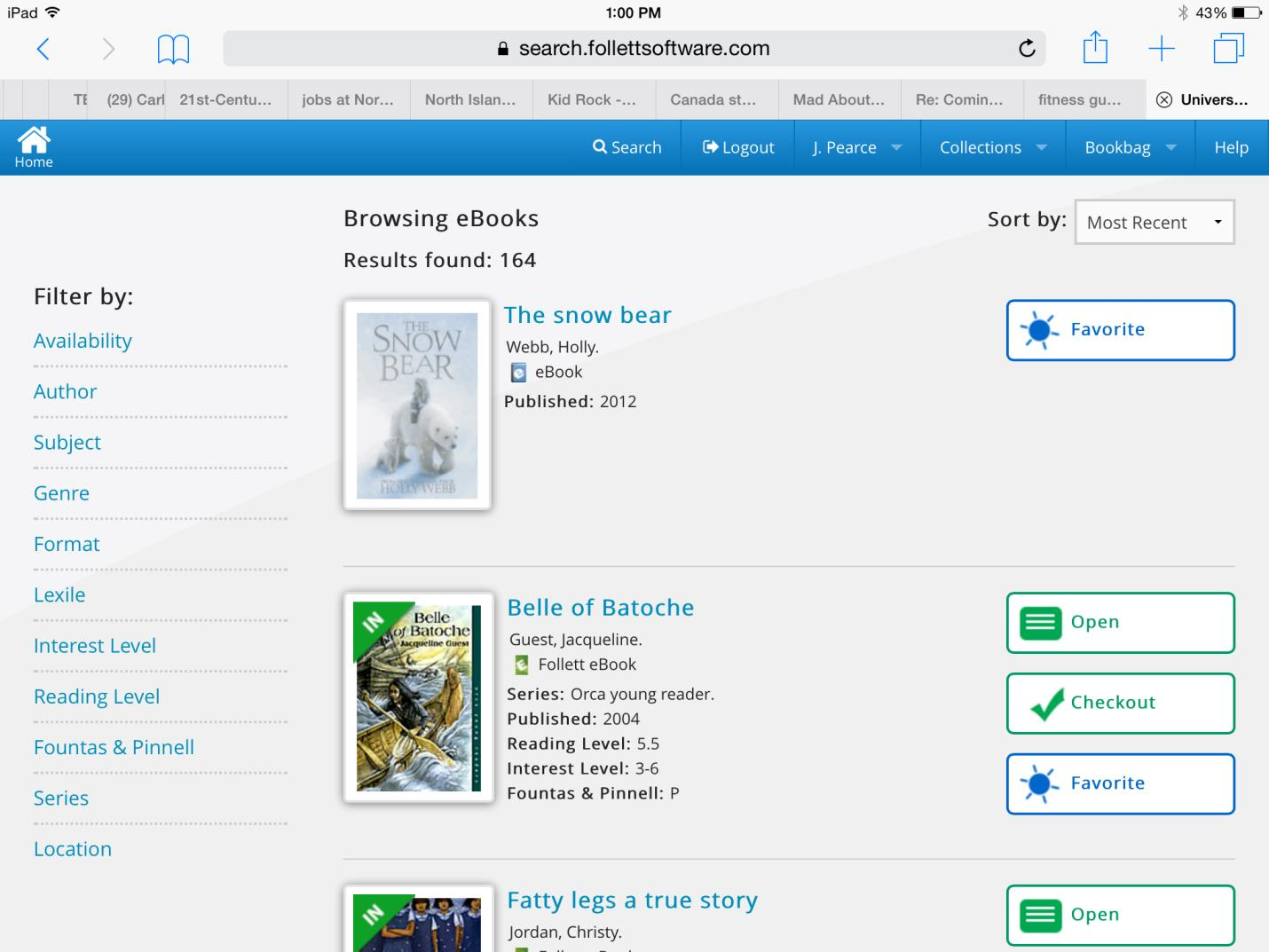 This screen similar to this one appears: As of September, 2015, there were over 160 e-books available to the elementary teachers and