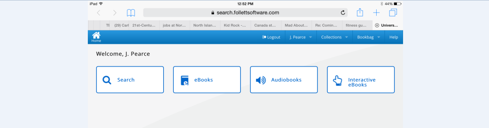 This screen appears, or one similar to it: Instructions from here will focus on e-books.