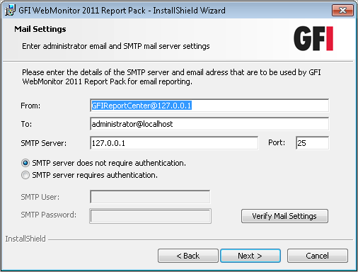 Screenshot 4 Microsoft SQL Server selection dialog 6. Specify the details of the Microsoft SQL Server which is hosting your GFI WebMonitor database backend, and the database name.