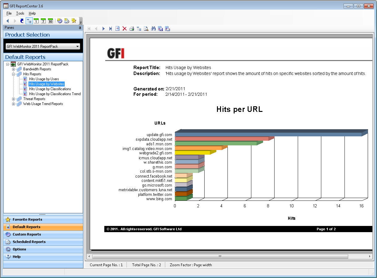 3.3 Navigating Through the Generated Report Screenshot 9 Generated reports are displayed in the right pane of the management console Generated reports are shown in the right pane of the GFI