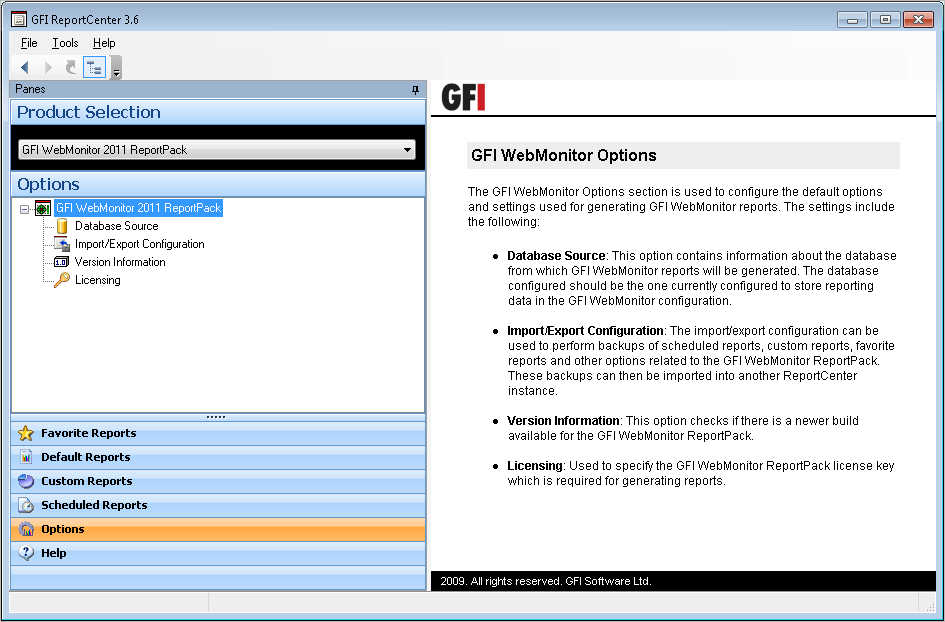 6 Configuring Default Options 6.1 Introduction The GFI WebMonitor ReportPack allows you to configure a default set of parameters which can be used when generating reports.