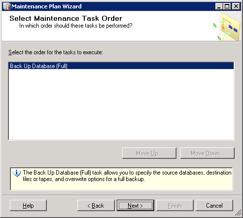 VCM Backup and Disaster Recovery Guide 10. Select Back Up Database (Full), and then click Next. The Select Maintenance Task Order page appears. 11.