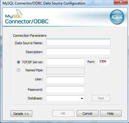 Data source name: name of the ODBC connection(odbc DSN name) Description:(optional) TCP/IP Server: The IP of the database machine( for example :127.0.
