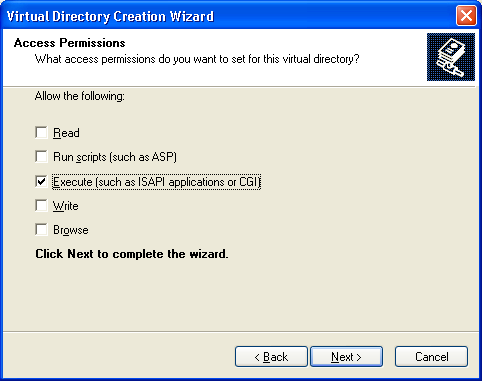 "6. Enable ""Execute, disable all other options, and press next until the alias is created. 7. Go the created virtual directory properties (right click ardweb ) a."