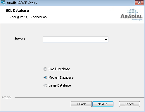 In this dialogue the user is required to enter the full Database Instance name. For Example: MY-PC\SQLEXPRESS.