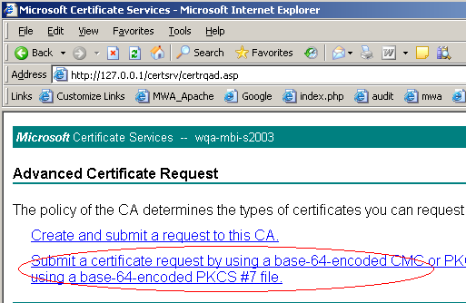 4. Click Submit a certificate request by using a base-64-encoded CMC or PKCS #10 file, or submit a renewal request by