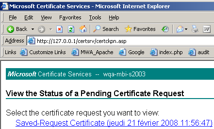 3. Select your pending certificate, then click Next to go to the download page. 4.