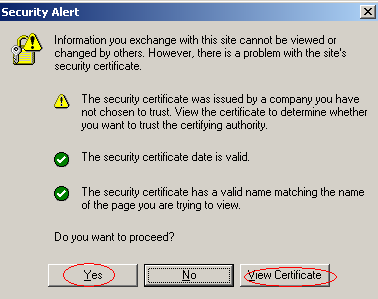 You can click Yes to continue to the Web page or install the certificate in order to not show this warning in the future.