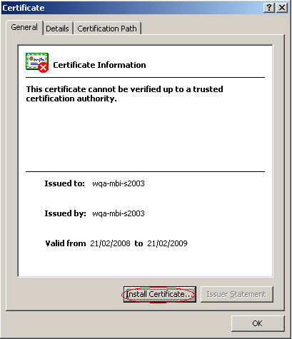 - Click Install Certificate in order to launch the Certificate
