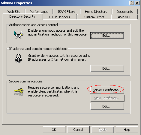 4. Click the Directory Security tab, and then under Secure Communications, click Server