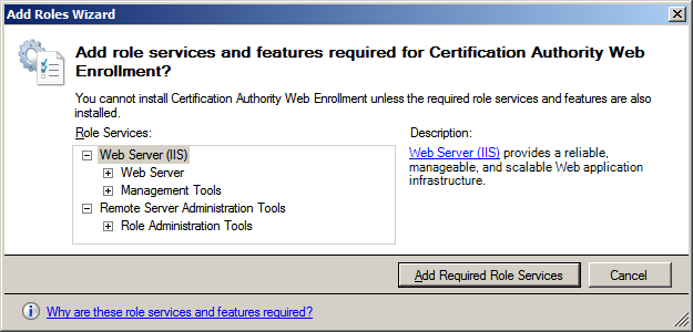 5. Click Next->Next. Then in Role Services, check the options Certification Authority and Certificate Authority Web Enrolment. 6.