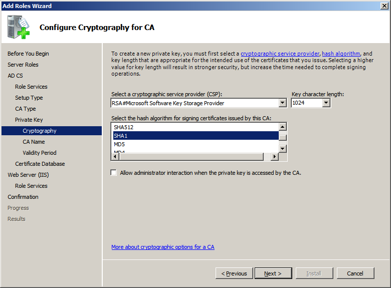 10. In Setup Private Key window, depending on the requirement, select either Create a new private key or Use existing private key radio button and click Next to open Configure Cryptography for CA