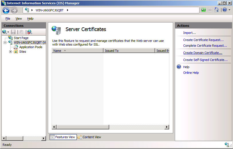 Install the certificate on WDM server: Use the following guidelines: 1. On the taskbar, click Start > Administrative Tools > Internet Information Services (IIS) Manager to open the IIS Manager window.
