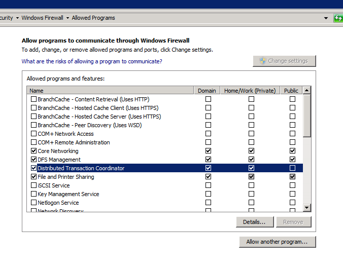 Open firewall for MSDTC 1. Go to Control Panel >> System Security>> Windows Firewall. 2.