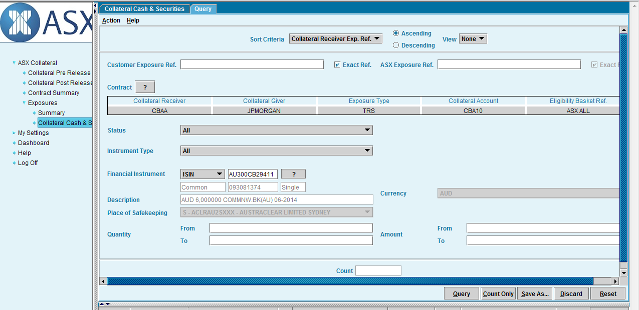 The user can then search for and a select the individual securities they wish to withdraw.