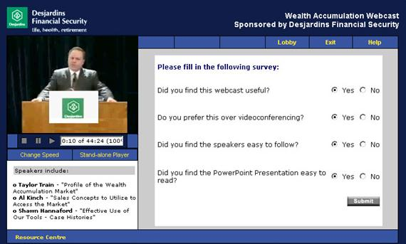 Survey The survey generally pops up at the completion of the live or archive web cast.