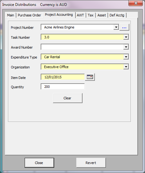 Standard, Project or Purchase Order Distributions Distributions Separate form tabs for different types of data Search for existing GL code combinations or dynamically create new codes Allows the use