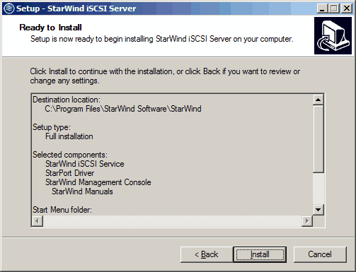 Review the settings you have specified during the installation setup, click the Back button if you need