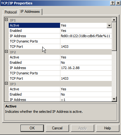 Click TCP/IP and select Enabled. On IP Addresses tab under IP1 select Active and Enabled. Choose Yes in both fields 5.