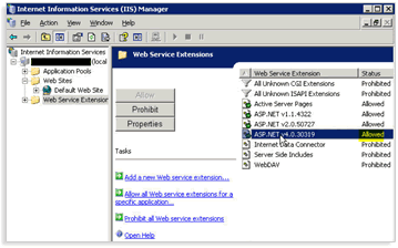 PointCentral Administration website will not load, (Page cannot be displayed) 1. Open IIS. 2. From the IIS Manager window, expand the server and expand Web Sites. 3. Highlight Web Service Extensions.