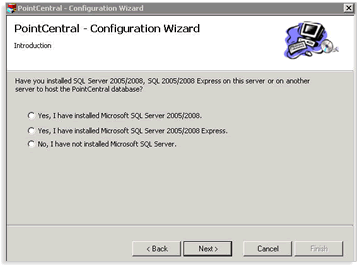 11. When the PointCentral installation has completed, the PointCentral - Configuration Wizard will automatically open.