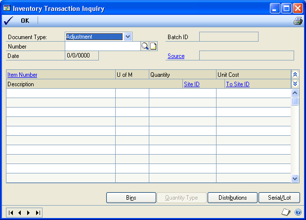 CHAPTER 28 TRANSACTION INQUIRIES You can use any of these windows to view the transaction information as it was entered. 7. You can choose File >> Print to print the Item Transaction Inquiry Report.