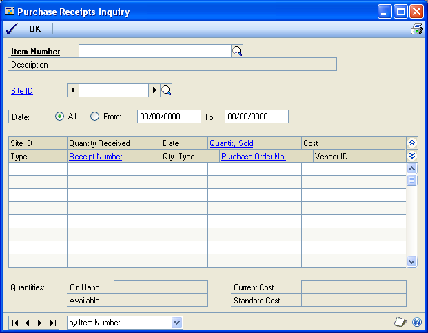 PART 4 INQUIRIES AND REPORTS Information about split purchase receipts also is displayed in the window. Refer to Split purchase receipts on page 180 for more information.