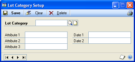 PART 1 SETUP Creating a lot category Use the Lot Category Setup window to create a lot category you can use to track the attributes of similar items.