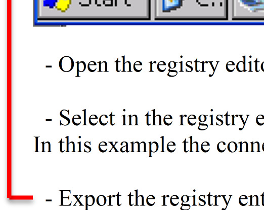- Select in the registry editor the HKEY_CURRENT_USER/Comm/RasBook/<Connection name> In this
