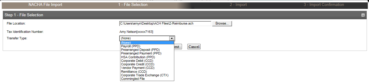 Import ACH Transfer NACHA ACH transfer files can be created in many business software programs and then imported into ACH Manager. If this is your method, choose the option below and submit.