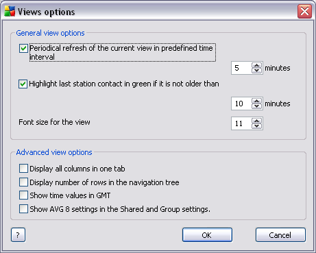 In the General view options section choose the viewing preferences: o Periodical refresh of the current view in predefined time interval check the checkbox and choose a time value in minutes to