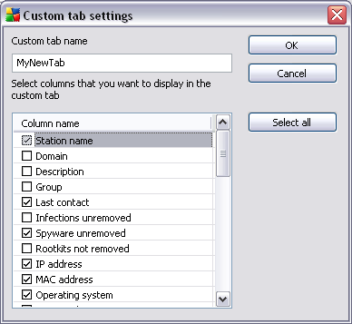 Fill-in your custom tab name, then choose columns you wish to display within the tab and confirm your choice by pressing OK. You can also use Select all button to choose all columns.