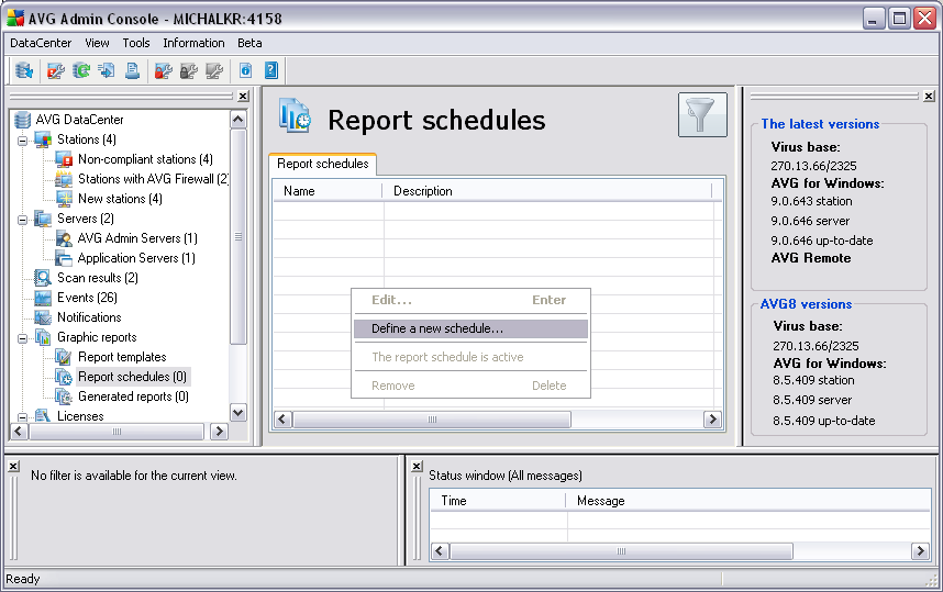 6.9.2. Report Schedules In this group, you can create, edit and view graphic report schedules.