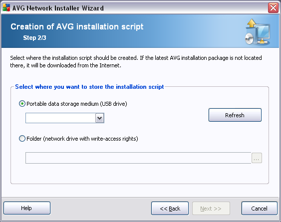 8.2.2. Creation of AVG Installation Script In this dialog you need to choose, where the installation script will be saved.