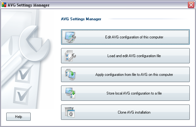 9. AVG Settings Manager Please note: This tool is a part of the AVG installation!