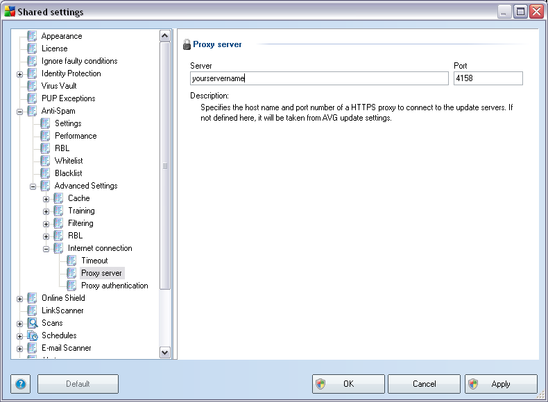 Server settings dialog, UpdateProxy tab. The Anti-Spam updates can be also changed manually from the Shared settings.