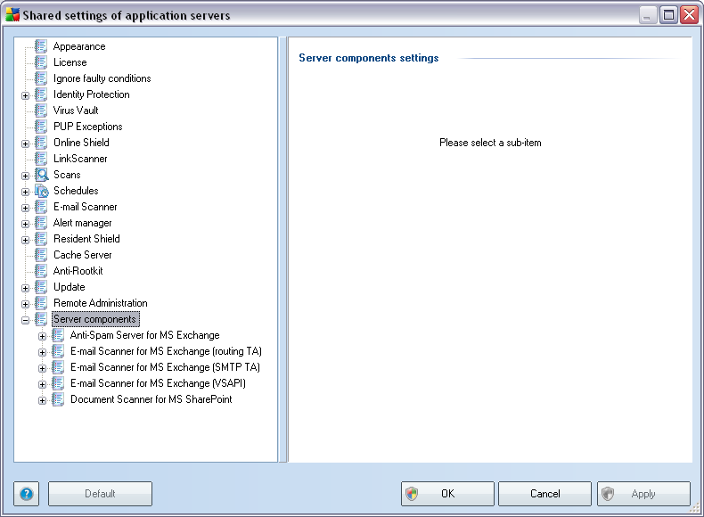 10.3. Shared Settings for Application Servers This dialog allows you to define shared settings for application servers.