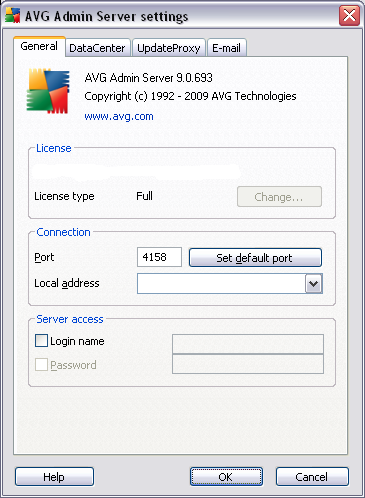 Server settings allows you to set up the AVG Admin Server configuration.