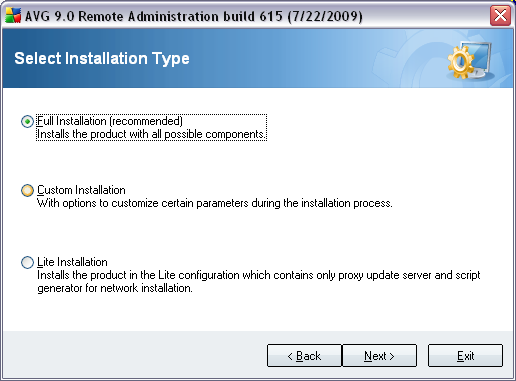 2.5. Installation Type In this dialog select which type of Remote Administration you wish to install.
