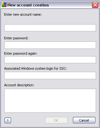Enter the account name and password (twice for verification). The Associated Windows system login for SSO field can be used for entering an existing Windows system login name.