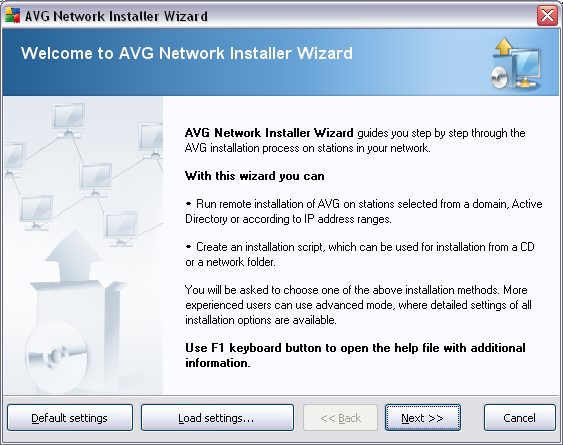 5.1. Welcome If you have already used the AVG Network Installer Wizard before and saved a customized configuration into a configuration file (available in the final step), you can load the settings