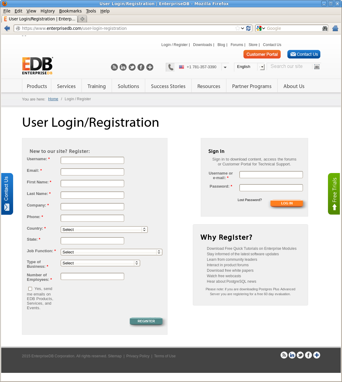 Figure 3.5 - Register as an EnterpriseDB user. You can also access the registration page by navigating to: https://www.enterprisedb.