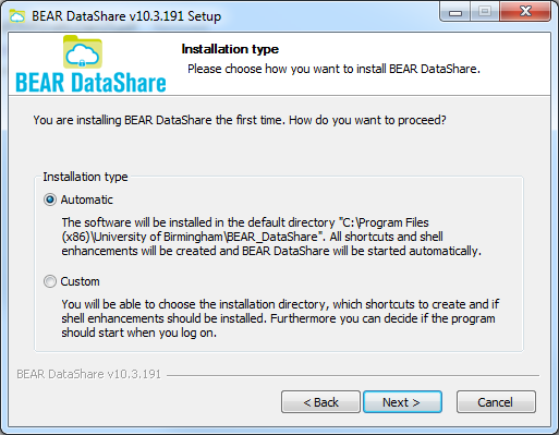 The setup for BEAR DataShare will now begin, select I Agree on the initial License Agreement screen.