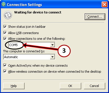 C. ActiveSync Software Configuration NOTE: Microsoft ActiveSync should be configured with the COM port assigned during the Bluetooth device setup. 1. DOUBLE-CLICK Microsoft ActiveSync icon (Figure 1).