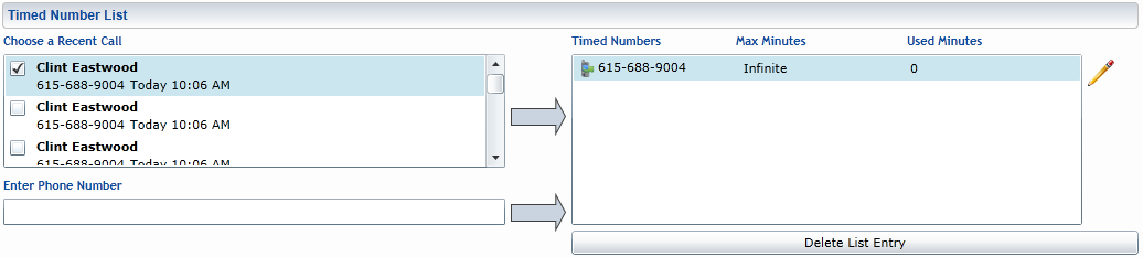 Blocked Number List Figure 31 Blocked Number List Numbers in the Blocked List cannot be dialed regardless of normal blocking settings.