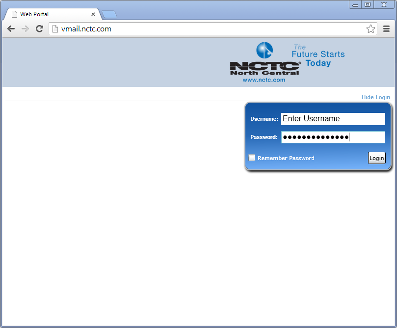 Web Portal Access To access the NCTC Web Portal, all you need is a supported browser with Microsoft Silverlight Support. To access the web portal, point a supported browser to http://vmail.nctc.com.