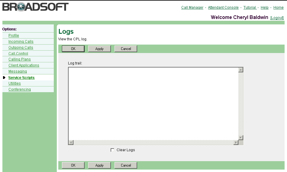 9.4 Logs 1) On the User Service Scripts menu page, click Load. The User Load page appears.