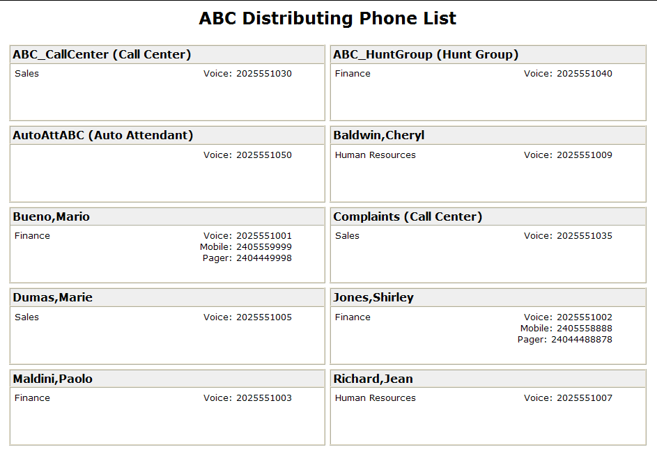10.4.3 View or Print a Phone List Use this procedure to display or print your Group Directory Detail Phone List.