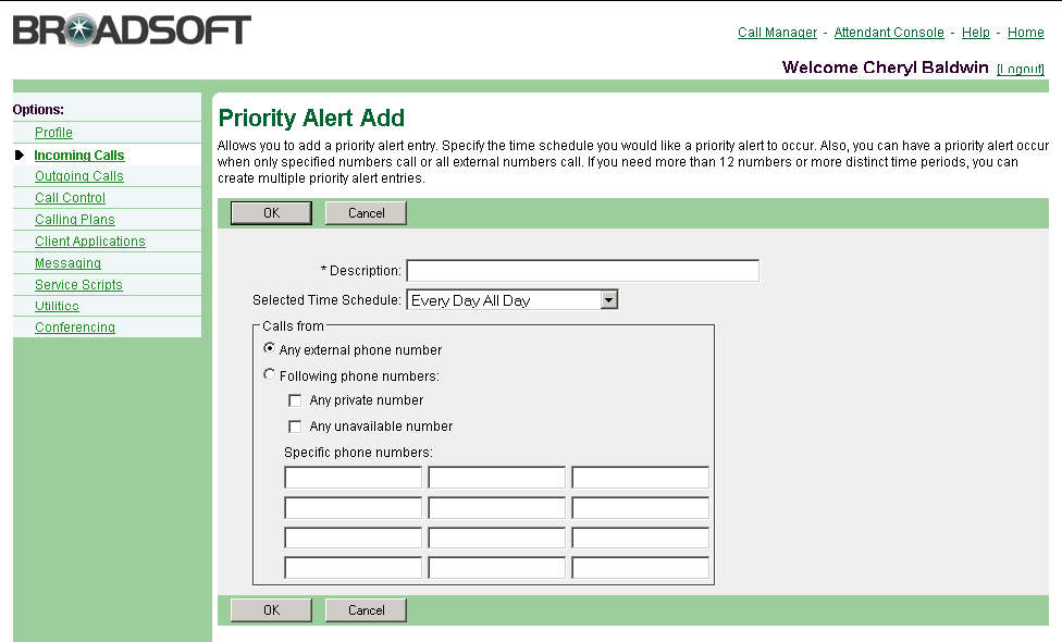 3.18.2 Add a Priority Alert Use this procedure to add a new priority alert. Figure 38 Priority Alert Priority Alert Add 1) On the User Incoming Calls menu page, click Priority Alert.